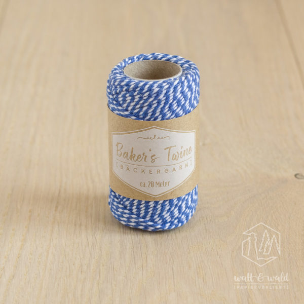 ca. 20 Meter Baker's Twine aus 100% Baumwolle in blau-weiß meliert