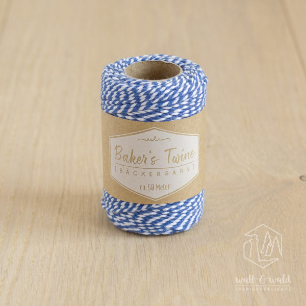 ca. 50 Meter Baker's Twine aus 100% Baumwolle in blau-weiß meliert