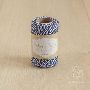ca. 20 Meter Baker's Twine aus 100% Baumwolle in dunkelblau-weiß meliert