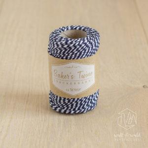 ca. 50 Meter Baker's Twine aus 100% Baumwolle in dunkelblau-weiß meliert