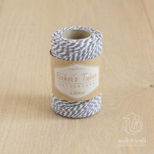 ca. 50 Meter Baker's Twine aus 100% Baumwolle in grau-weiß meliert