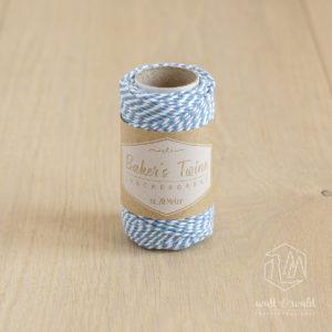 ca. 20 Meter Baker's Twine aus 100% Baumwolle in hellblau-weiß meliert