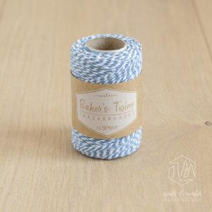 ca. 50 Meter Baker's Twine aus 100% Baumwolle in hellblau-weiß meliert