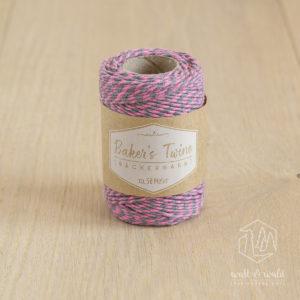ca. 50 Meter Baker's Twine aus 100% Baumwolle in rosa-grau meliert