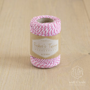 ca. 50 Meter Baker's Twine aus 100% Baumwolle in rosa-weiß meliert