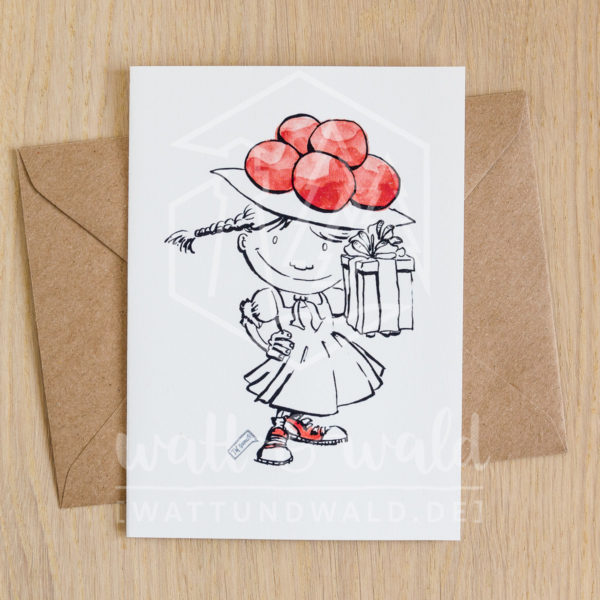 Grußkarte Schwarzwaldmädel mit Geschenk