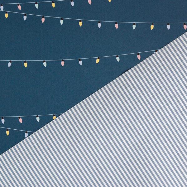 Geschenkpapier Lichterkette & Streifen blau