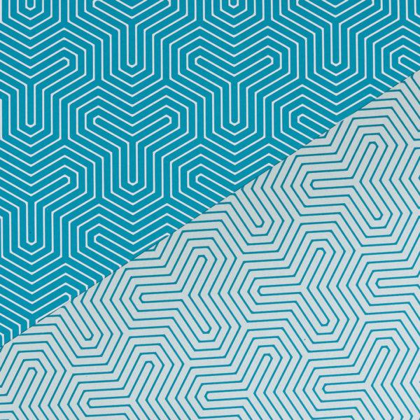 gemustertes, grafisches Geschenkpapier von My Pretty Circus | beidseitig bedruckt | Geometrisch türkis