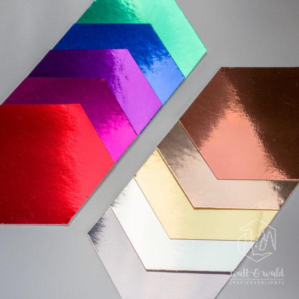 Spiegelkarton Probepäckchen [11 Farben] Schwarz hat leider den Termin für's Gruppenfoto verpasst.