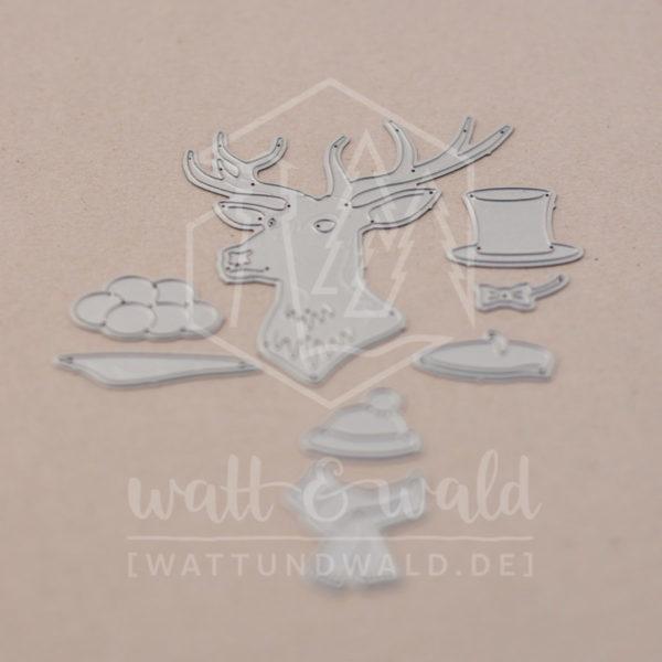 Hirsch mit Hut - Original Stanzen von watt&wald | zum Ausstanzen aus Papier | Kartenbasteln, Scrapbook, Basteln