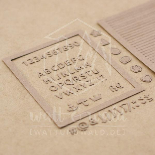 watt&wald Stanze Letterboard | Stanzteile aus Papier | Kartenbasteln, Scrapbook, Basteln
