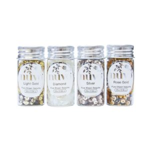 nuvo - Golden Years Sequins | 4 x 25 ml Pailletten | Light Gold, Diamond, Silver, Rose Gold | wattundwald [papierverliebt]