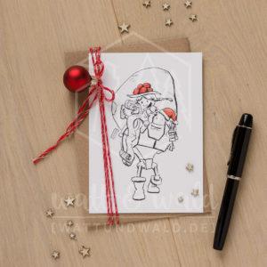 Postkarte Geschenkesack und Huckepack