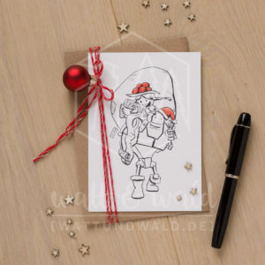 Postkarte Geschenkesack und Huckepack | wattundwald [papierverliebt]