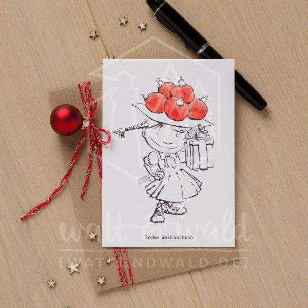 Postkarte Weihnachtsgeschenk | wattundwald [papierverliebt]
