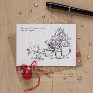 Postkarte Weihnachtseinkäufe mit Schlitten