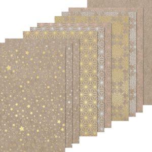 Heyda Naturkarton Block Sternenglanz mit Heißfolienveredelung | silber gold roségold | 220 g/m² | A4 | wattundwald [papierverliebt]