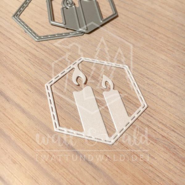 Original Cutting Dies von watt&wald zum Ausstanzen aus Papier. Kerzen im Hexagon kombiniert mit dem Hexagon mit genähtem Rand
