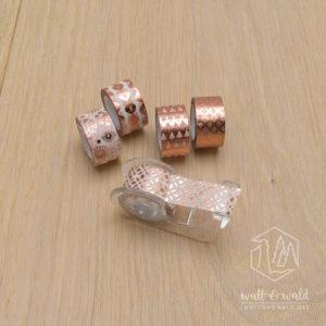 Mini Deko Tape roségold | 5 Rollen á 3 Meter | inkl. Abroller | von Heyda