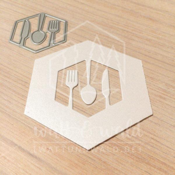 Original Cutting Dies von watt&wald zum Ausstanzen aus Papier. Besteck im Hexagon - Kombinierbar mit 4 verschiedenen Rahmen.