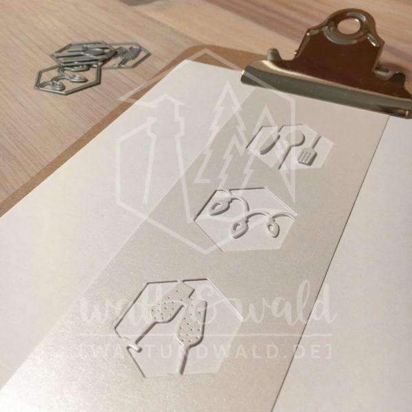Original Cutting Dies von watt&wald zum Ausstanzen aus Papier. Party im Hexagon - 3er Set - Kombinierbar mit 4 verschiedenen Rahmen.