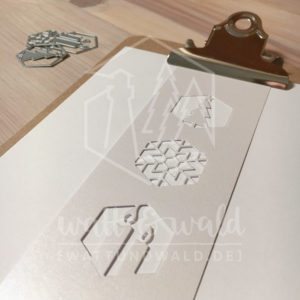 Original Cutting Dies von watt&wald zum Ausstanzen aus Papier. Weihnachten im Hexagon - 3er Set - Kombinierbar mit 4 verschiedenen Rahmen.