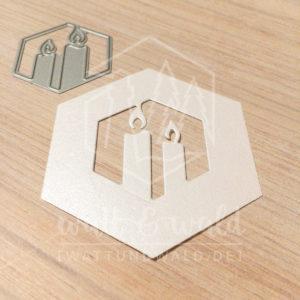 Original Cutting Dies von watt&wald zum Ausstanzen aus Papier. Kerzen im Hexagon - Kombinierbar mit 4 verschiedenen Rahmen.