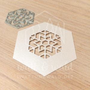 Original Cutting Dies von watt&wald zum Ausstanzen aus Papier. Schneekristall im Hexagon - Kombinierbar mit 4 verschiedenen Rahmen.