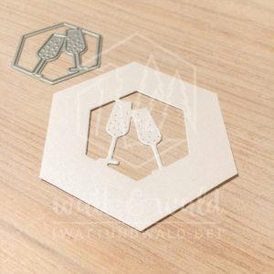 Original Cutting Dies von watt&wald zum Ausstanzen aus Papier. Sektgläser im Hexagon - Kombinierbar mit 4 verschiedenen Rahmen.