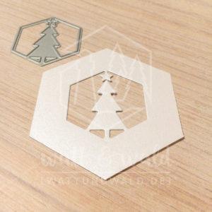 Original Cutting Dies von watt&wald zum Ausstanzen aus Papier. Tannenbaum im Hexagon - Kombinierbar mit 4 verschiedenen Rahmen.