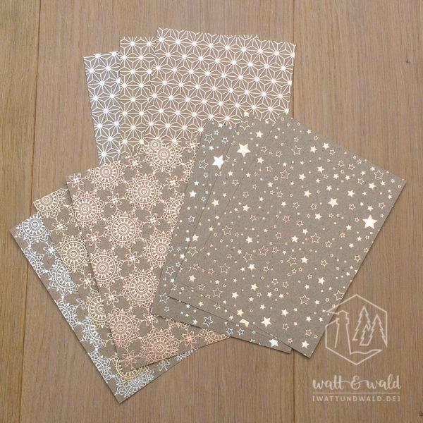 Heyda Naturkarton Sternenglanz mit Heißfolienveredelung | silber gold roségold | 220 g/m² | Probepäckchen