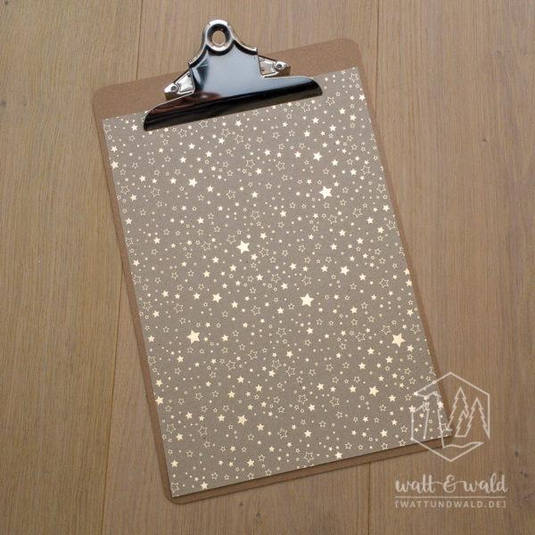 Heyda Naturkarton Sterne mit Heißfolienveredelung | gold | 220 g/m² | A4