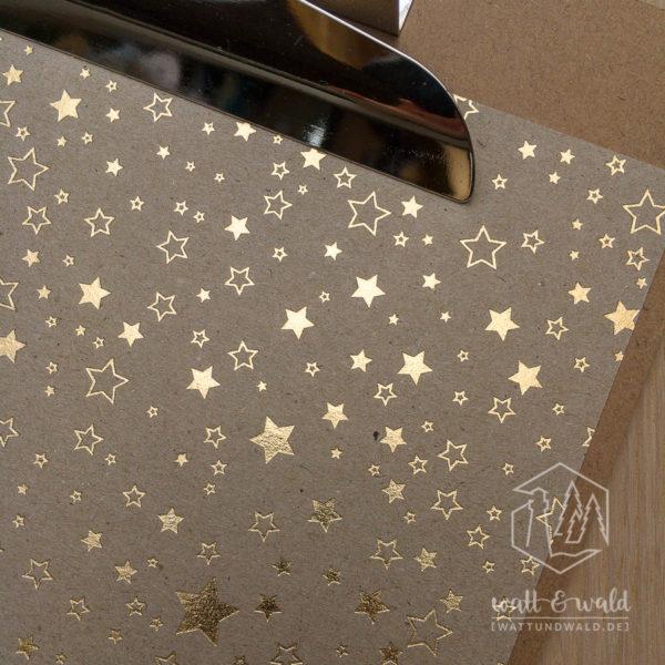 Heyda Naturkarton Sterne mit Heißfolienveredelung | gold | 220 g/m² | A4 | Detail