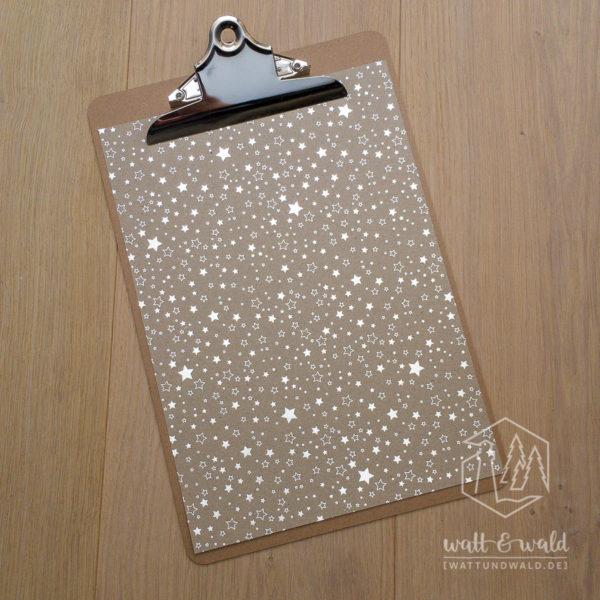 Heyda Naturkarton Sterne mit Heißfolienveredelung | silber | 220 g/m² | A4