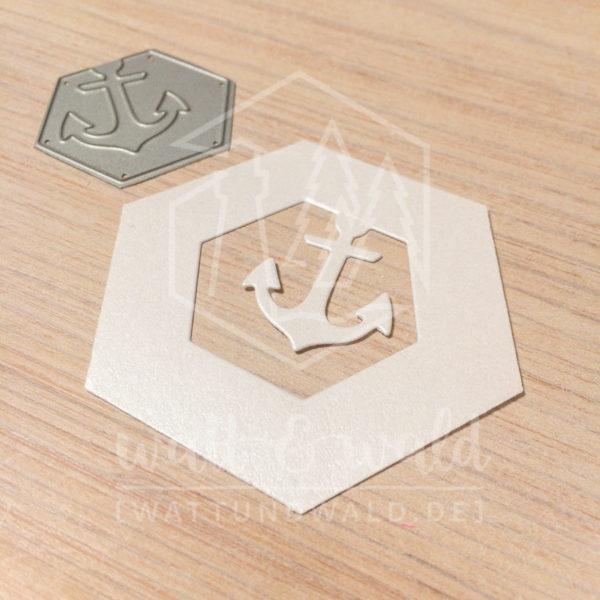 Original Cutting Dies von watt&wald zum Ausstanzen aus Papier. Anker im Hexagon - Kombinierbar mit 4 verschiedenen Rahmen.