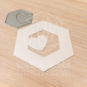 Original Cutting Dies von watt&wald zum Ausstanzen aus Papier. Herz im Hexagon - Kombinierbar mit 4 verschiedenen Rahmen.