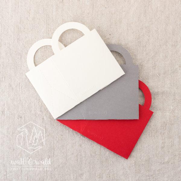 Buntbox Colour Bag S | creme, grau, rot | Kleines Geschenktäschchen aus stabilem Recyclingkarton | für Gastgeschenke, Mitbringsel und Give-Aways