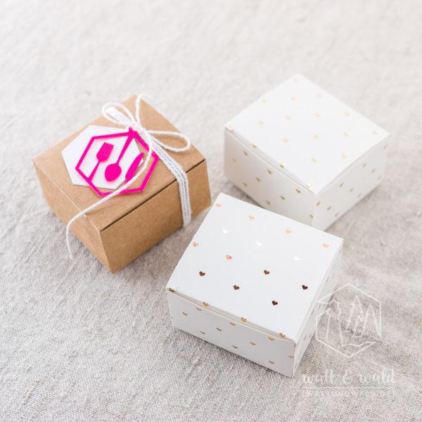 Mini Geschenkschachteln | Kraftkarton | Chromokarton mit Folienveredelung in gold oder roségold | Gastgeschenke