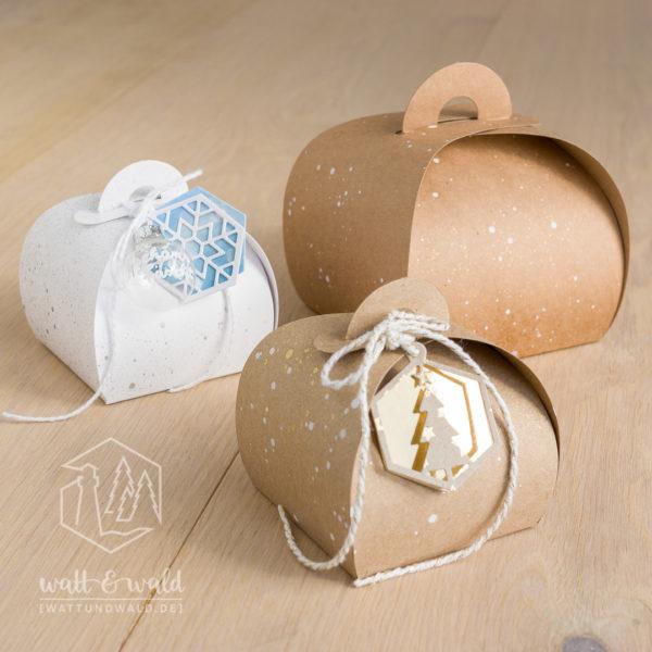 Dekorative Geschenkboxen aus weißem Chromokarton und braunem Kraft-Karton | für Gastgeschenke, Mitbringsel und kleine Geschenke