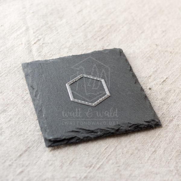 Rahmen genäht | Hexagon Stanzform von wattundwald