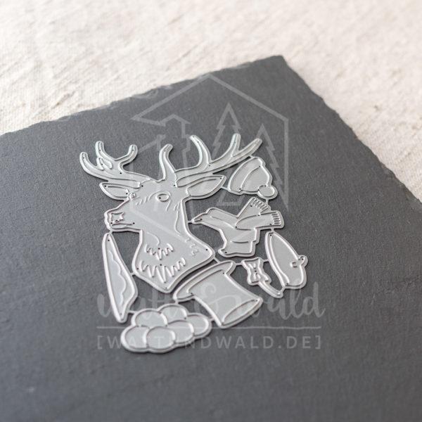 Hirsch mit Hut | Original Stanzformen von watt&wald zum Ausstanzen aus Papier.