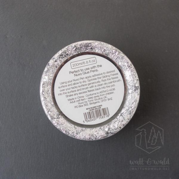 nuvo Gilding Flakes | Silver Bullion | Tonic Studios | silberfarbene Flocken aus Blattmetall zum Verzieren