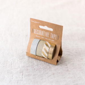 Deko Tape gold | 4er Set | je 10 Meter | metallic gold, weiß, glitzer silber, glitzer gold | 10 und 15mm breit | aus Reispapier und Kunststoff
