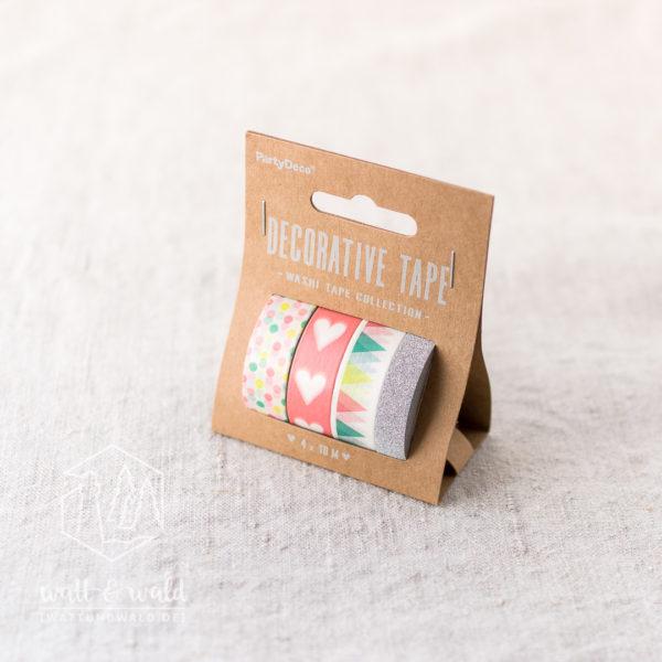 Deko Tape Party | 4er Set | je 10 Meter | bunt, glitzer silber | 10 und 15mm breit | aus Reispapier und Kunststoff