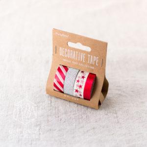 Deko Tape Weihnachten | 4er Set | je 10 Meter | metallic rot, weiß, glitzer silber | 10 und 15mm breit | aus Reispapier und Kunststoff