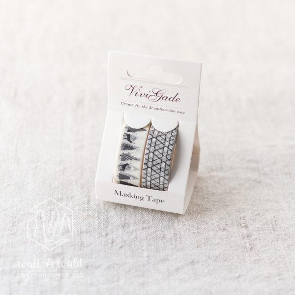 Masking Tape Sternwald | 2er Set | je 4 Meter | schwarz, weiß, silber | 15mm breit | aus Reispapier