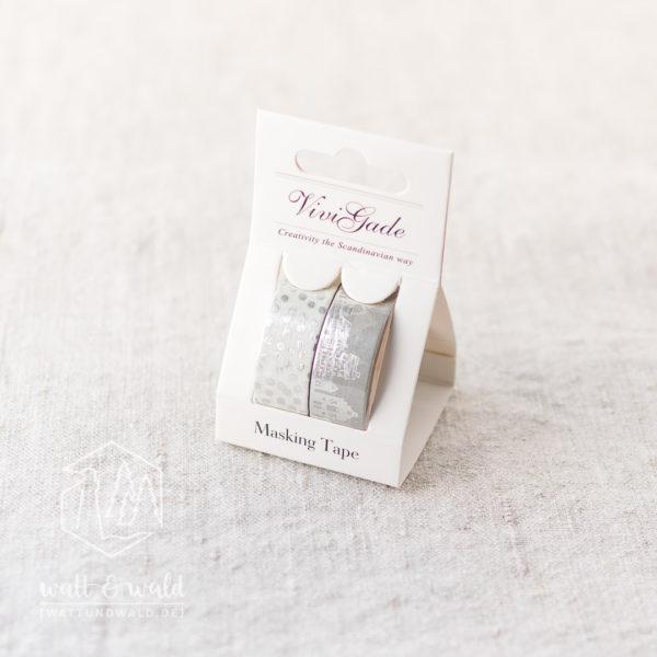 Masking Tape Silberstadt | 2er Set | je 4 Meter | weiß, grau, silber | 15mm breit | aus Reispapier
