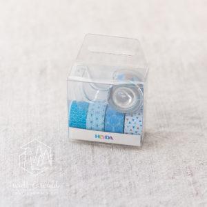 Mini Deko Tape blau | 5 Rollen á 3 Meter | inkl. Abroller | von Heyda