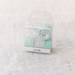 Mini Deko Tape mint | 5 Rollen á 3 Meter | inkl. Abroller | von Heyda