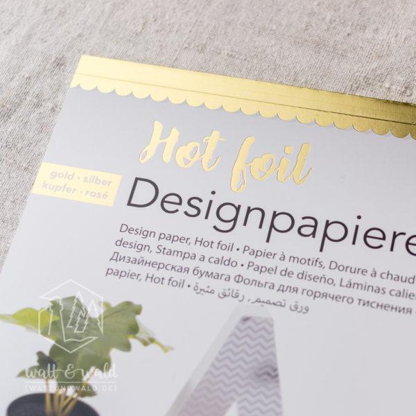 Folia Hot Foil Block Art-Deco | 12 Designpapiere mit Heißfolienveredelungen in gold, silber, kupfer, roségold | ca. 165 g/m²